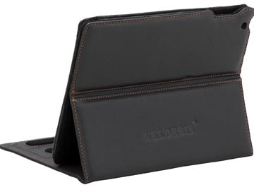 Capa para iPad preta com costuras em laranja