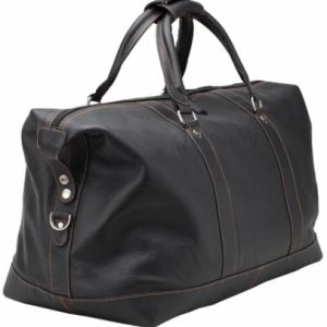 Bolsa para viagem preta com costuras em laranja