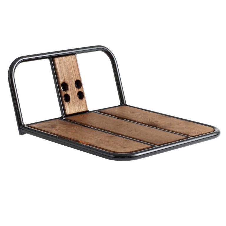 Bagageiro frontal em aço e madeira